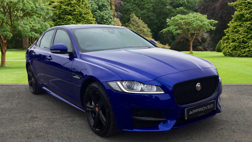 used jaguar xf r sport d 180 awd blue ap17asz. Black Bedroom Furniture Sets. Home Design Ideas